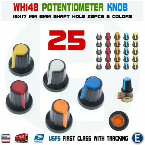 25pcs 6mm WH148 Potentiometer Shaft Control Rotary Knob Cap 15mm x 17mm 5 colors