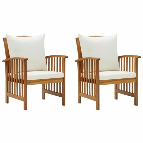 Garden Furniture - Set Of 2 Wooden Garden Chairs With Cushion Patio Terrace Armchair Seat Furniture