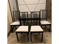 Black/Brown Dining Table and Chairs