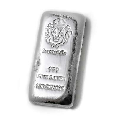 100 Gram Cast Silver Bar by Scottsdale Mint .999 Silver Bullion - 100g  #A130