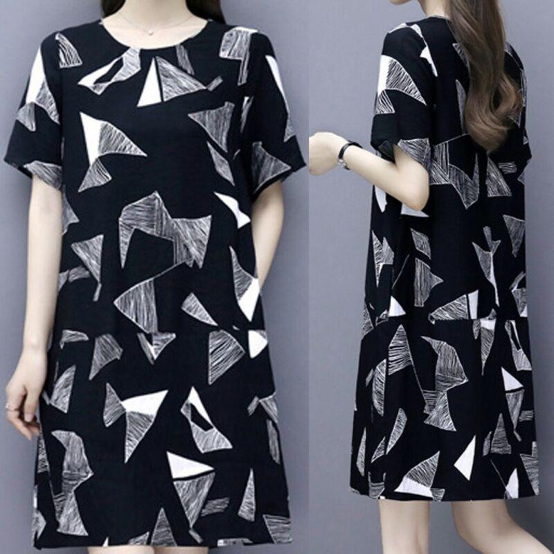 Womens Korean Fashion Short Sleeve T-shirt Dress Print Round