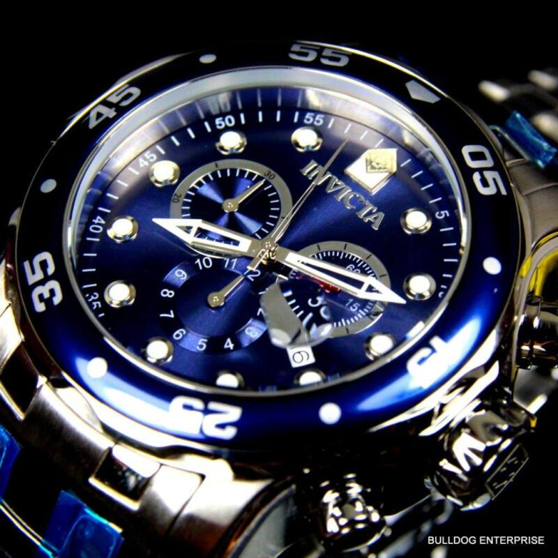 Mens Invicta Pro Diver Scuba Silver Blue Steel Chronograph Swiss Parts Watch New фото