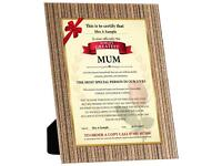 Mother's Day certificate .
