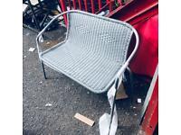 Steel Wicker 2 Seater Garden bench grey