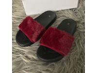 Ladies Women Girls Designer Asos Truffle Collection Burgundy Fur Sandals All Sizes
