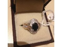 Woman 9ct yellow gold Ring with 1.55 ct sapphires and 0.5 ct diamonds New