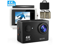 Brand New 4K Action Camera with WiFi + Remote + 2x batteries + Case + Accessory pack