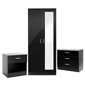 Mirrored High Gloss 3 Piece Bedroom Furniture Set