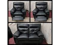 Black leather 2/1/1 seater sofas excellent condition