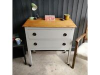 small oak chest of drawers, vintage chest of drawers, painted chest of drawers, oak drawers,