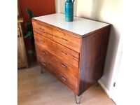 REMPLOY Retro Chest Drawers with Formica Leaf Patterned Top on Hairpin Legs
