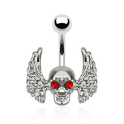 Skull with Red Gem Eyes and Angel Wings Surgical Steel Navel Belly Button Ring