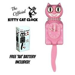 PINK MISS KITTY CAT CLOCK (3/4 Size) 12.75 Free Battery USA MADE Kit-Cat Klock