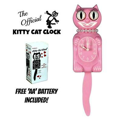 "PINK MISS KITTY CAT CLOCK (3/4 Size) 12.75"" Free Battery USA MADE Kit-Cat Klock"