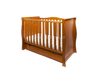 Antique Pine Sleigh Mini Cotbed 3 in 1 Cot/Junior Bed/Sofa Bed with mattress