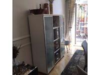 white and grey sideboard/shelf/bar cabinet/cupboard/display cabinet