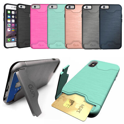 Protective Armour Hard Phone Case Cover with Hidden CARD HOLDER & Media Stand
