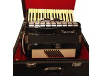 PARROT 48 BASS PIANO KEY ACCORDION WITH HARD CASE