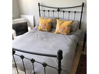 Wrought iron double bed - frame and mattress