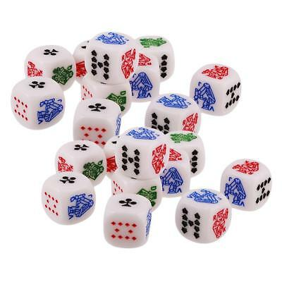 20pcs 12mm Six Sided D6 Poker Dice for Casino Poker Card Game Favours Gift
