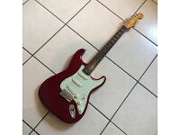 Futurama Strat copy, sparkle red with mint green scratchplates