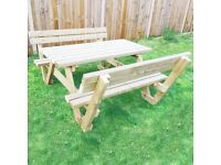 Picnic Table with Backrest / Pressure Treated/ FREE delivery Norwich/ 4ft, 5ft and 6ft available