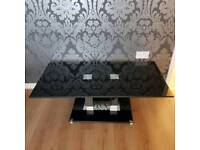 Black Coffee Table Glass Glossy Living Room Contemporary Furniture Design Style