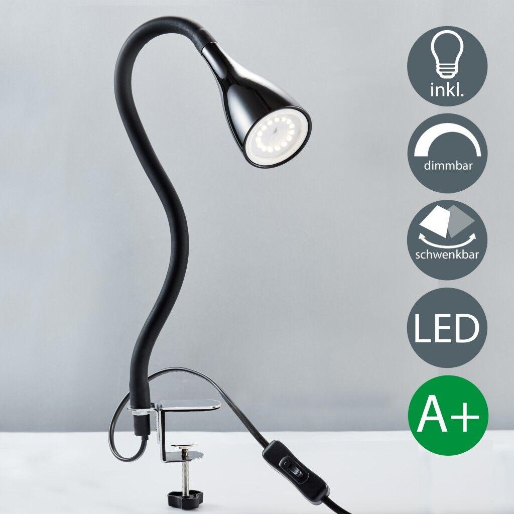 LED Klemm-Leuchte dimmbar Leselampe flexibel Tisch-Lampe schwarz 5W A+ B.K.Licht