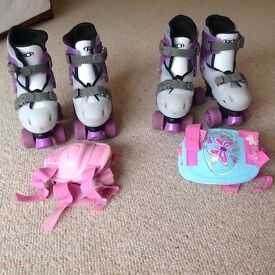 2 Pairs adjustable kids roller skates size 12-1 (including elbow and knee pads)