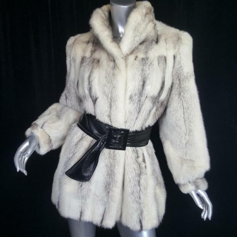 STUNNING VINTAGE~SZ L~GENUINE OFF WHITE BLACK GRAY CROSS MINK FUR COAT JACKET