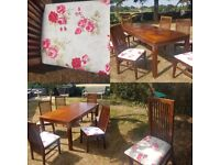 Solid wood dining table + 6 newly upholstered chairs