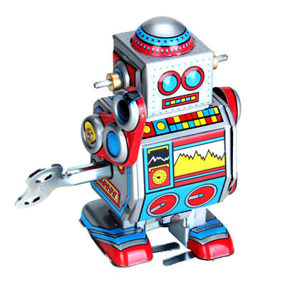 Mini Vintage Retro Tin Wind Up Robot Movable Toy for Adult Collector Multi-color
