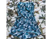 H&M Blue/Green Leaf Print Playsuit