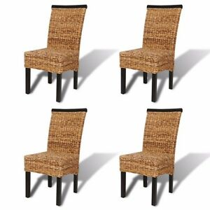 Set of 4 Brown Wicker Solid Wood Dining Chair Abaca Hand Woven Rattan Side Chair