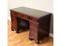 Regency Style Mahogany Twin Pedestal Green Leather Top Desk