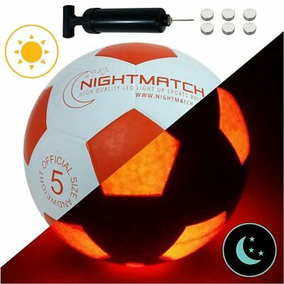 Light Up Football Ball Soccer Official Size Weight LED Glow In Dark Game Play