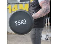 Rubber Coated Barbell - 25kg.