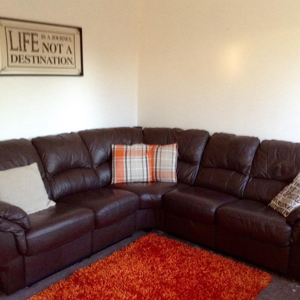 Brown Leather Corner Sofa In Heywood Manchester Gumtree