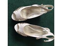 Cream coloured wedge mid-heel Faith shoes, size 6 (39)
