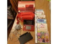 Nintendo 3ds metallic red hardly used vgc with extra games and carrying case