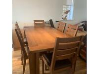 Solid Oak Dining Table (PERFECT CONDITION) - 6-8 Seater + Chairs