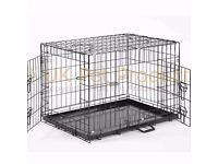 Dog Crate - Two Doors - Twin Locks - Black Metal Tray