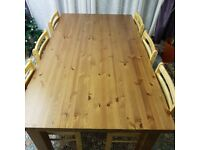 Solid real oak wood dining table