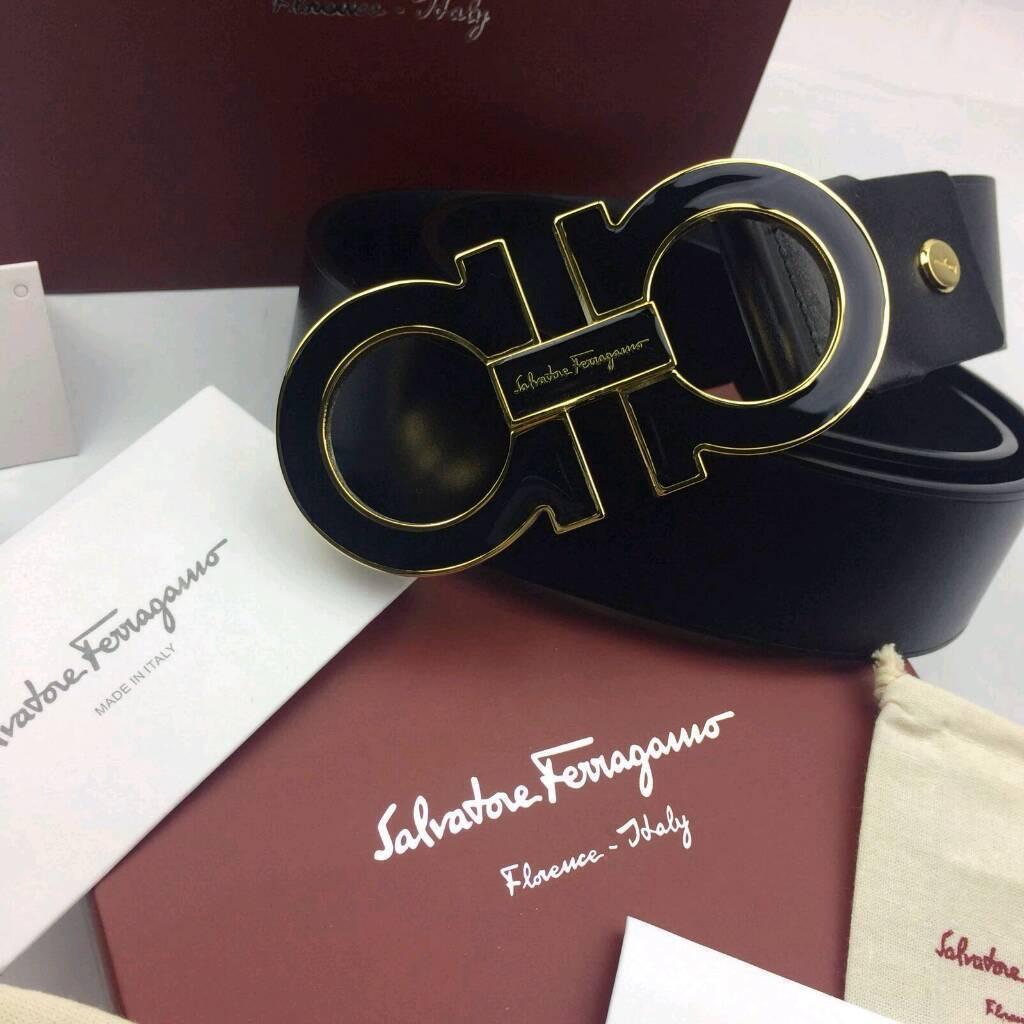 698bc2a91 Black on black stylish elegant big sized mens leather belt ferragamo boxed  complete