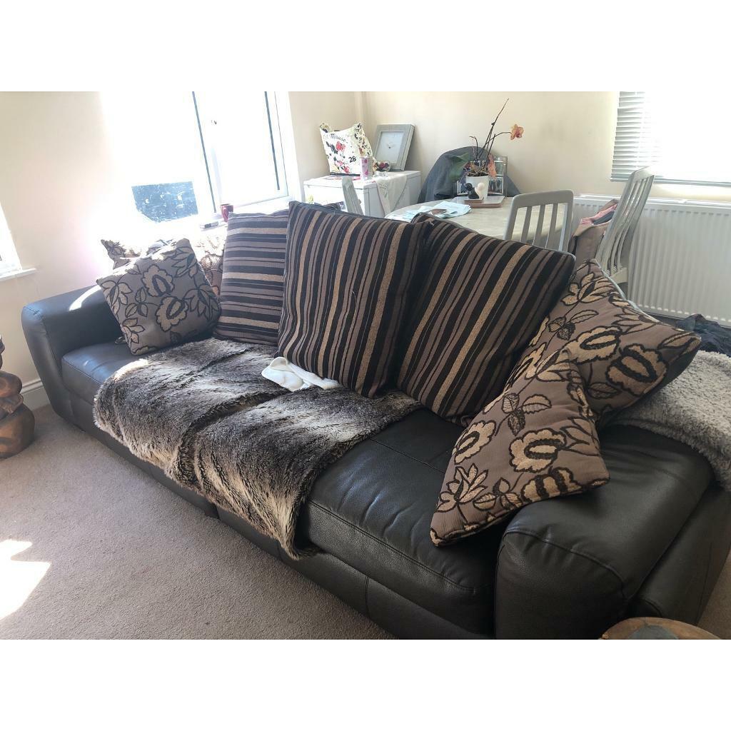 Leather Brown Sofa In Braintree Essex Gumtree