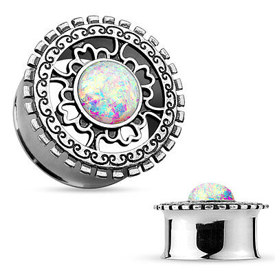 - Pair Surgical Steel Double Flared Tunnels with Opal Silver Plated Tribal Shield
