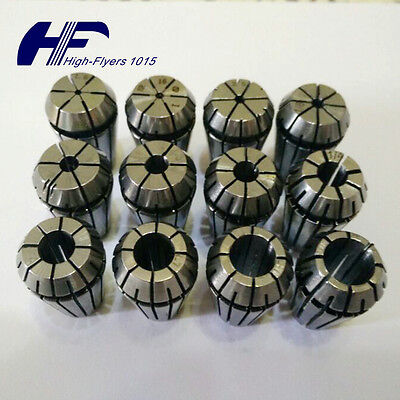 NEW ER16 12 PCS Spring Collet Set 1/32 - 3/8 CNC Super Precision 3/32 7/32 11/32