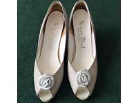 Van Dal, white peep-toe heels with rose detail, size UK 5.5