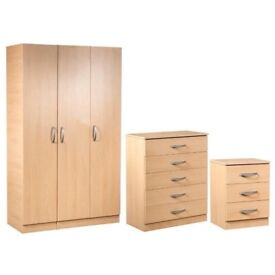 BRAND NEW = PRE ASSEMBLED LARGE BEDROOM SET- WARDROBE-CHEST-BEDSIDE+ 28 DAYS CASH BACK GURNTY