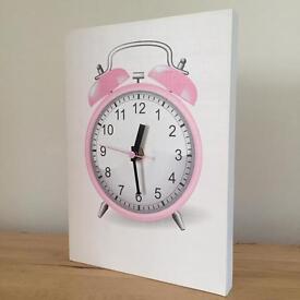 Pink Clock Canvas